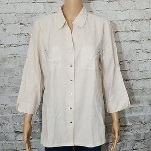 🏵 Cathy Daniels linen button shirt size medium